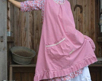 cotton red gingham apron pattern Jacqueline