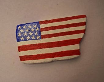 Painted American Flag Rock Paper Weight