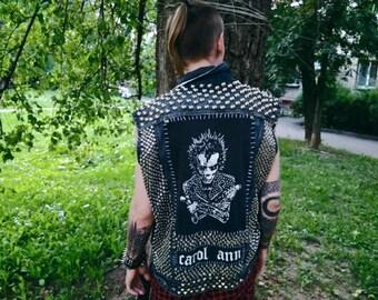 Crust punk studded denim vest for men diy