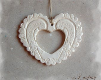 Ivory white lace and openwork ceramic heart