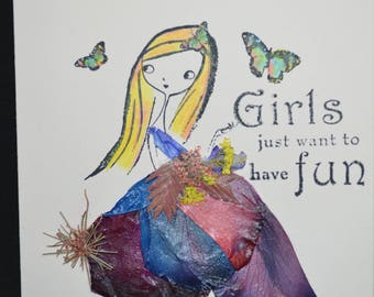 Girls Just Want to Have Fun in Pressed Flower Card