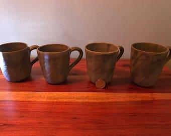 Set of 4 Light Purple Mugs w Handles