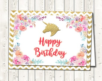 Unicorn Happy Birthday Card, Printable Happy Birthday Cards,  Unicorn Birthdays, Birthday Printables, Digital Download, You Print