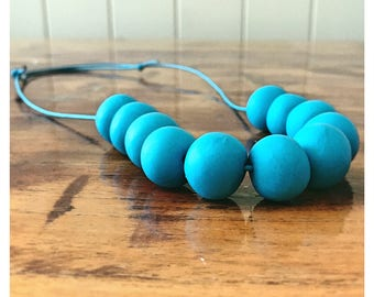 Bright Blue Beaded Polymer Clay Necklace