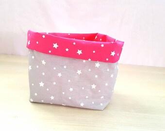 Reversible basket (pink star)