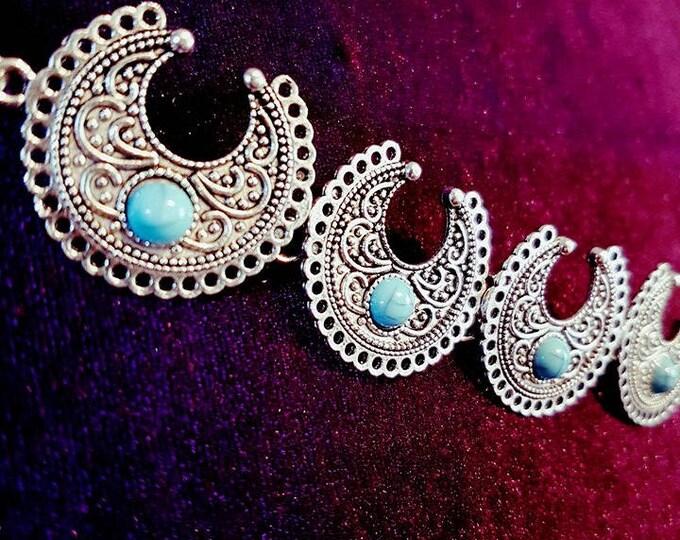 Moon Choker - turquois gemstone gothic boho bohemian occult goa gypsy