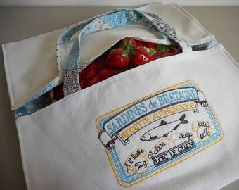 "sac à tarte brodé  ""sardines de bretagne"" broderie machine,blanc - bleu - carreaux - jaune - noir - poisson - bretagne - sardine - liberty"