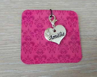 Aurélie name heart charm