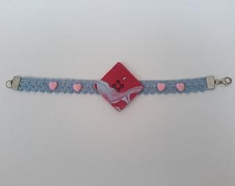 handmade polymer clay bracelet Ribbon
