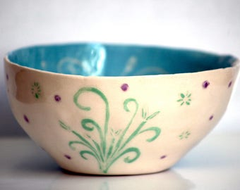 Bowl blue Dinnerware was Bowl handmade ceramic artmelanie