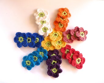 3 flower hook (4 cm) - free choice between 8 colors