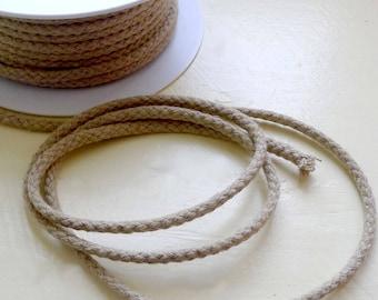 DrawString linen 5 mm x 3 m cord natural material, round braid bracelet cord