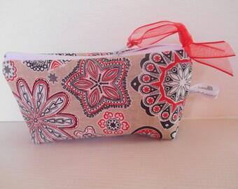 pencil case or makeup grey red roses print