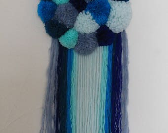 Hanging tassels sky blue, Navy, turquoise, blue and grey blue
