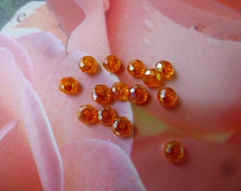 Crystal AB beads faceted abacus 3 x 4 mm set of 25 color orange
