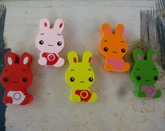 5 pearls bunnies wooden various colors creating children