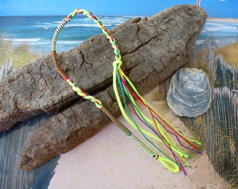 Friendship Bracelet lucky braided neon yellow and multicolored fashion buckle
