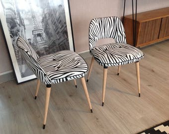 Pair of chairs cocktail, black, Zebra fabric.