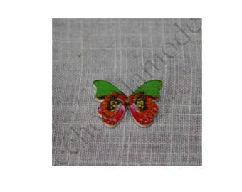 1 button wood Butterfly multicolored 28 mm X 21 mm ref 9