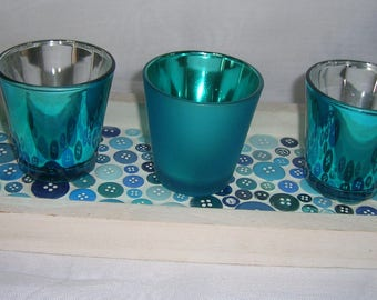 Wearing turquoise blue mosaic buttons candlesticks
