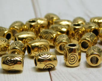 25pcs - 7x6mm - Gold Spacer Beads - Metal Beads - Gold Beads - Gold Spacers - Spacer Beads - Metal Spacer Beads - (5028)