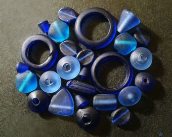 35 handmade blue frosted Indian glass beads