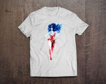 Wonder Woman Shirt DC Comic Superhero T Shirt Watercolor Drawing Print on Tee INSPIRED Gotham Dark Knight Super Hero Design WonderWomen