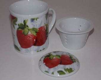 Strawberry decorated porcelain mug