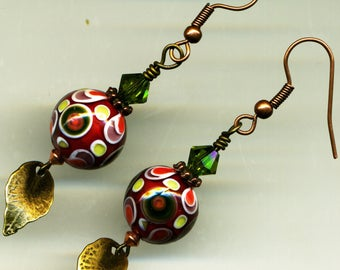 "BRONZE Copper - ""Red ochre"" earrings"