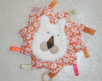 ring teether, multi-texture, ribbons, lion blanket
