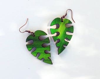 Tropical Feeling, Leaf Earrings, Green