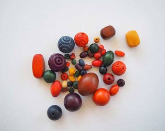47 assorted wooden beads, real BOXWOOD, colors and shapes
