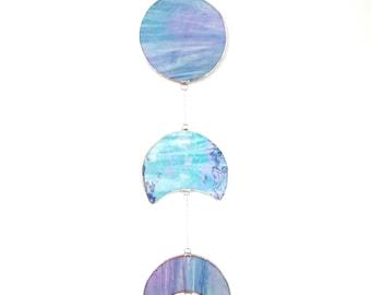 Stained Glass Moon Phase Lunar Suncatcher, Iridescent, Mermaid Suncatcher