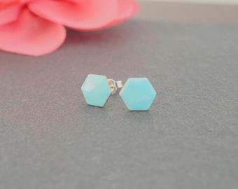 Earrings chip Hexagon mint - enameled jewelry