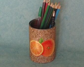 orange pencil holder from reclaimed metal