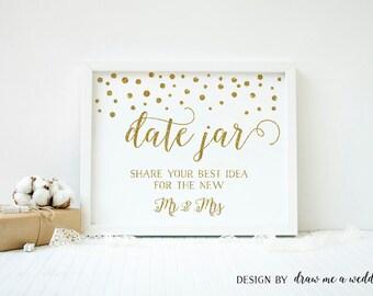 Date Jar Sign , Date Night Ideas , Gold Wedding Sign , Gold Bridal Shower , Wedding Date Jar , Date Night Sign , Printable