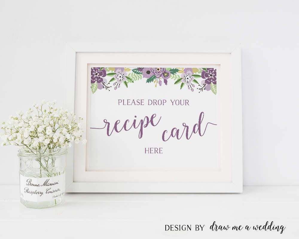 recipe cards sign recipe sign floral shower recipe box sign printable sign