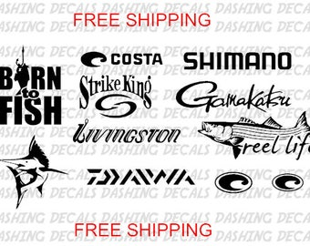 Fishing Decals 11, FREE SHIPPING, Vinyl Sticker, Lure Reel Rod, Hook Tackle Bass, Kayak Canoe Boat, Fly Salt Life