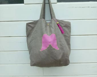 handbag, Tote, linen and cotton pink with white dots, Angel Wings