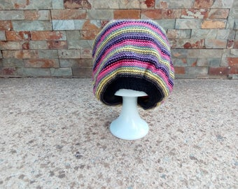Hand knitted colorful hat.
