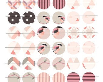 """Digital 48 images for cabochons 25mm (1 inch) Board, """"Little Birdie"""" theme"""