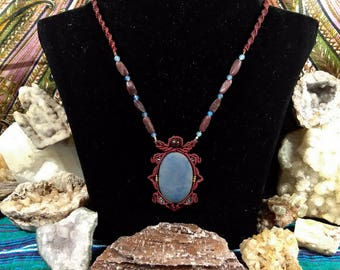 Window to heaven cuarz window to the sky blue macrame jewelry