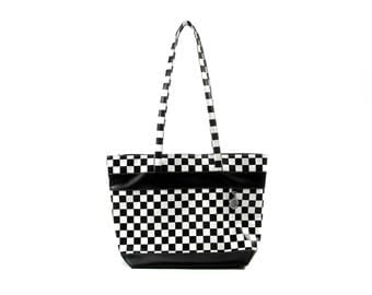 Checkered black and white shopper bag, elegant and feminine