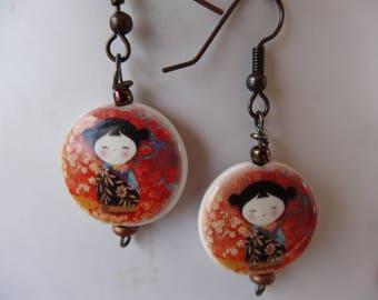 Kokeshi earrings poetic red black orange - porcelain