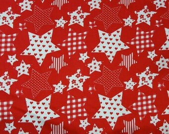 Red and white fabric with large stars