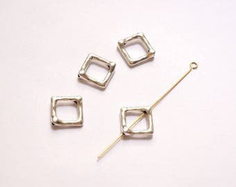 Silver square bead 12 mm x 10 distressed frames