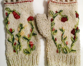 Fingerless gloves with thumb wool, embroidered flowers