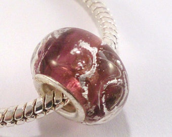 Burgundy lampwork with silver pattern (22A) European bead