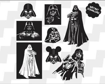 Darth Vader Svg, Darth Vader vector, Darth Vader clipart, Darth Vader cutting file, Darth Vader silhouette, Darth Vader Eps, Png, Dxf