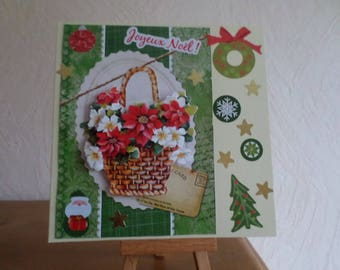 greeting card with basket of flowers